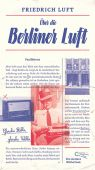 Über die Berliner Luft, Luft, Friedrich, AB - Die andere Bibliothek GmbH & Co. KG, EAN/ISBN-13: 9783847704058