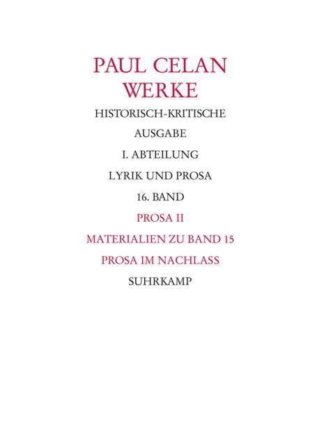Celan, Paul: Bonner Historisch-kritische Ausgabe