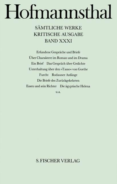 Hofmannsthal, Hugo von: Erfundene Gespräche und Briefe