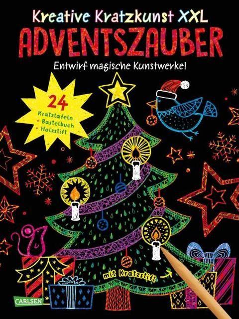 Mildner, Christine: Kreative Kratzkunst XXL: Adventszauber: Set mit 24 Kratzbildern, Anleitungsbuch und Holzstift