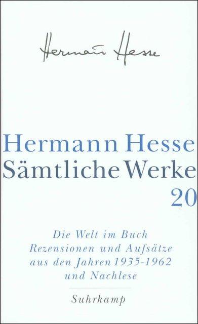 Hesse, Hermann: Sämtliche Werke 20
